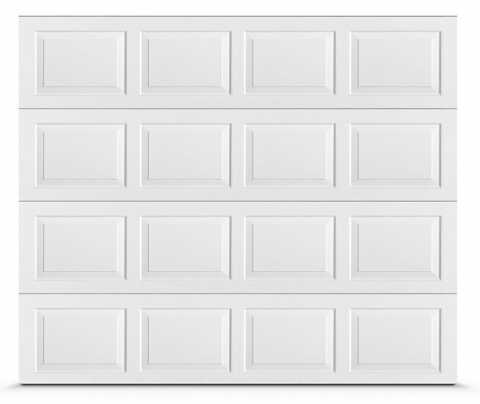 Classic residential garage door with raised panels.
